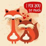 Лисы соединяют в любов Смешная карточка дня ` s валентинки бесплатная иллюстрация