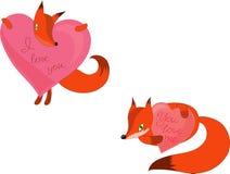 2 лисы с розовым сердцем иллюстрация вектора