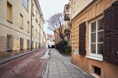 Литва Старые улицы Вильнюса Новый Год в Вильнюс 3-ье января 2018 стоковое изображение rf