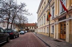 Литва Старые улицы Вильнюса Новый Год в Вильнюс 3-ье января 2018 стоковое изображение