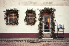 Литва Старые улицы Вильнюса Новый Год в Вильнюс 3-ье января 2018 стоковое фото