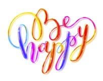 ` Литерности счастливое ` изолированное на предпосылке Рисовать с покрашенными карандашами Стоковое Изображение