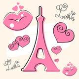 Литерность вектора Парижа и башня Eiffer нарисованные рукой Элемент дизайна для карт, знамен, летчиков, литерности Парижа изолиро иллюстрация штока