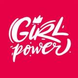 Литерность вектора руки силы девушки вычерченная Лозунг феминизма Изолированный на розовой предпосылке иллюстрация вектора