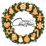 Литерность веселого рождества в центре венка с печеньями пряника Круглая рамка от традиционных печений праздника бесплатная иллюстрация