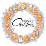 Литерность веселого рождества в центре серебряного серого венка с печеньями пряника Круглая рамка от традиционного праздника иллюстрация штока