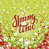 Литерность времени весны Цветки вишни, падая предпосылка сердца иллюстрация вектора