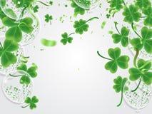 Литерность дня ` s St. Patrick торжества счастливая на сверкная темноте иллюстрация штока