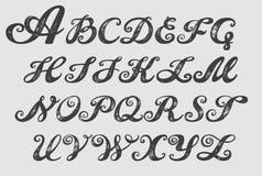 Литерность каллиграфии typeset алфавитом Стоковые Фото