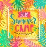 Литерность 2018 летнего лагеря на предпосылке джунглей Стоковое Изображение RF