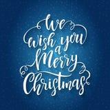 Литерность нарисованная рукой мы желаем вам с Рождеством Христовым Стоковые Изображения