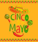 Литерность нарисованная рукой - Cinco De Mayo иллюстрация штока