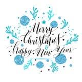 Литерность Нового Года, рука нарисованная поздравительная открытка рождества с синью Стоковое Изображение