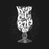 Литерность партии пляжа лета каллиграфическая Силуэт стекла коктеиля также вектор иллюстрации притяжки corel Литерность мела Стоковая Фотография RF