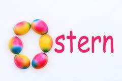 Литерность пасхи при o сделанный из яичек Стоковая Фотография RF