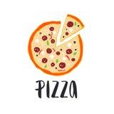 Литерность пиццы с нарисованным рукой кругом пиццы Стоковые Фото