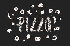 Литерность пиццы с элементами нарисованными рукой пиццы текстурировано Стоковые Фото