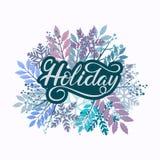 Литерность праздника нарисованная рукой для плаката, бирки подарка и карточки иллюстрация вектора