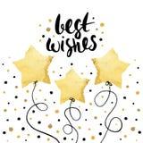 Литерность праздника наилучших пожеланий уникально рукописная при воздушные шары сделанные в стиле сусального золота Приветствова Стоковые Изображения