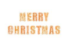 Литерность пряника вектора с Рождеством Христовым нарисованная рукой, изолированная карточка Greating, бесплатная иллюстрация