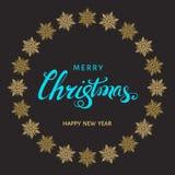 Литерность рождества голубая с снежинками золота на задней части черноты Стоковые Фото