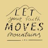 Литерность руки позволила вашим горам движений веры Стоковые Фото