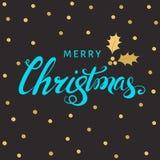 Литерность руки рождества с золотой хворостиной падуба с ягодой Стоковые Изображения RF