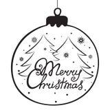 Литерность руки с Рождеством Христовым Шарик рождества, ель Карточка праздника на Новый Год Стоковая Фотография RF