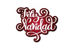Литерность руки Feliz Navidad вычерченная для дизайна рождества и Нового Года открытки, плаката, знамени, верхнего слоя phoro, in бесплатная иллюстрация