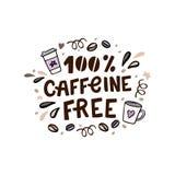 Литерность свободной руки кофеина Vector иллюстрация нарисованная рукой с кофейными чашками и конструируйте элементы Стоковое Изображение