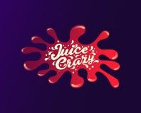 Литерность сока рукописная, логотип сока, ярлык или значок для бакалей, магазинов плодоовощ, упаковывая, и рекламируя Стоковое Изображение
