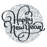 Литерность счастливого Нового Года черно-белая Стоковые Фотографии RF