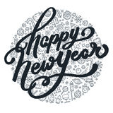 Литерность счастливого Нового Года черно-белая Стоковые Фото