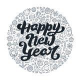 Литерность счастливого Нового Года черно-белая Стоковое Фото