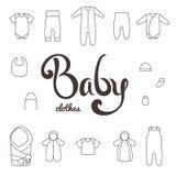 Литерность с одеждами значков newborn Стоковые Изображения