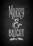 Литерность с Рождеством Христовым и Нового Года мела доски Стоковые Изображения