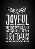 Литерность с Рождеством Христовым и Нового Года мела доски Стоковое Изображение