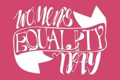 Литерность текста вектора дня равности женщин с лентой стоковые изображения rf