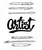 Литерность художника, авторучка и щетка, инструменты Иллюстрация вектора