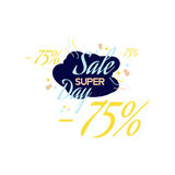 Литерность цвета для знака предложения специальной продажи, до 75 процентов  Плоская иллюстрация Eps 10 Стоковое Изображение