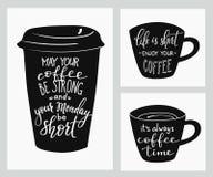 Литерность цитаты на форме кофейной чашки Стоковое Изображение RF