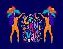 Литерность Carnaval руки вектора вычерченная Название масленицы с красочными элементами партии, confetti и самбой Бразилии dansin иллюстрация вектора