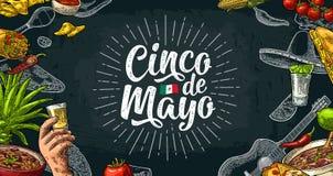 Литерность Cinco de Mayo и мексиканская традиционная еда бесплатная иллюстрация