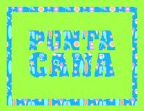 Литерность Punta Cana на зеленом backround Письма вектора тропические с красочными значками пляжа на свете - голубом backround иллюстрация вектора