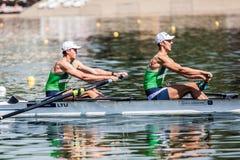 Литовские спортсмены на rowing конкуренции чашки мира гребя Стоковое Изображение