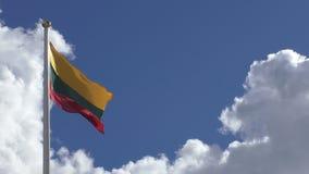Литовский национальный флаг, голубое небо, белые облака акции видеоматериалы