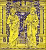 Литографирование St Peter и Пола в Missale Romanum неизвестным художником с инициалами f M Конец s 19 цент Стоковые Фото