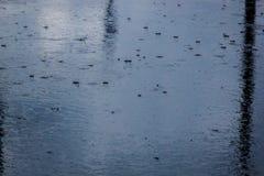 лить дождь, с грозой и громом, подачи воды на асфальт формируя бассейны, падения дождя получает к бассейнам и стоковая фотография rf