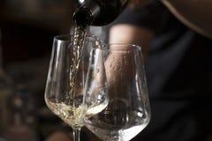 Лить итальянское вино стоковое изображение rf