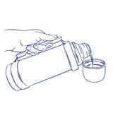 Лить кофе от thermos бесплатная иллюстрация